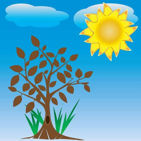tree and sun Stock Vector - 13879085