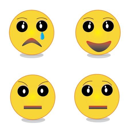 smiles sad happy angry surprised Illustration