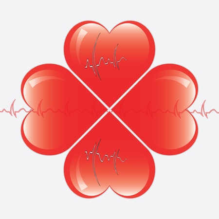 hearts whit ekg Stock Vector - 13984011