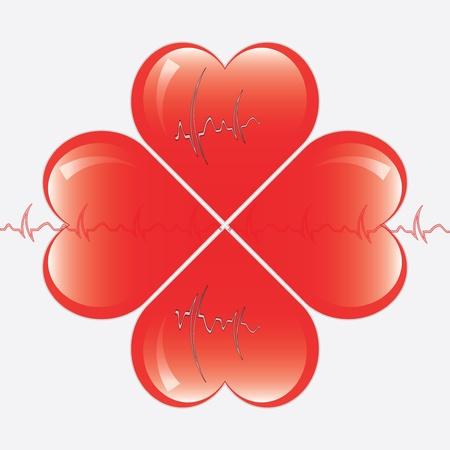 hearts whit ekg Stock Vector - 13984011
