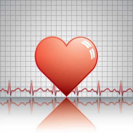 Heart with ekg Medical vector Vector
