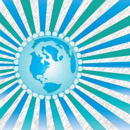 Earth globe whit rays