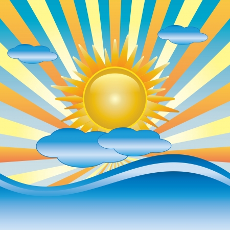Sun with cloud vector and waves Stock Vector - 14289381