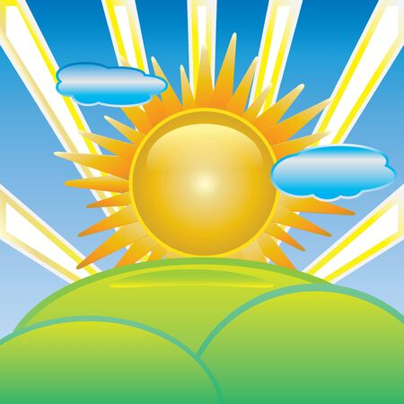 Sun with cloud vector and waves Stock Vector - 14461855
