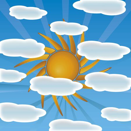 Sun with clouds  Stock Vector - 14523459