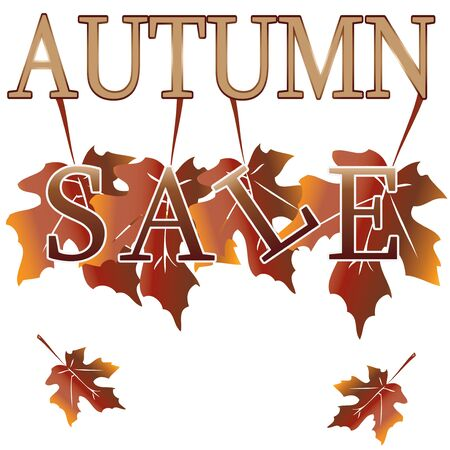 Brown and gold autumn sale over white background  illustration Vector