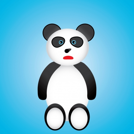 Black and white panda cartoon over blue background  Vector