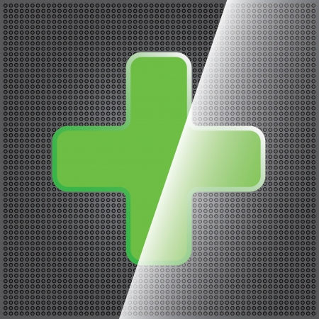 Green cross clean icon and dotted texture Stock Vector - 14657279