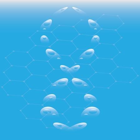 Molecule illustration over blue Stock Vector - 14657303