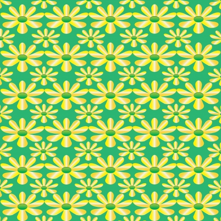 Vector green seamless texture with flowers eps10 Illustration