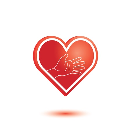 hello heart: Hearts with helping hand Illustration