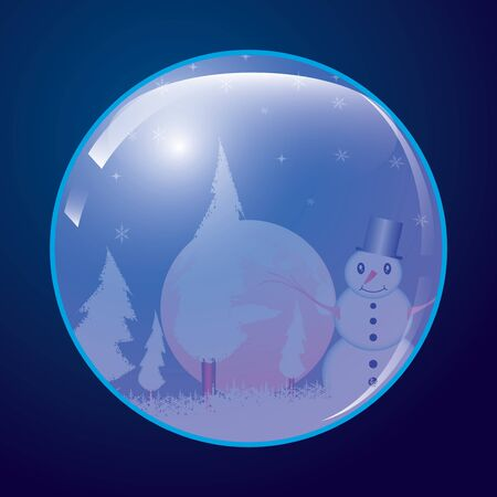 Christmas ball whit snowman  Vector