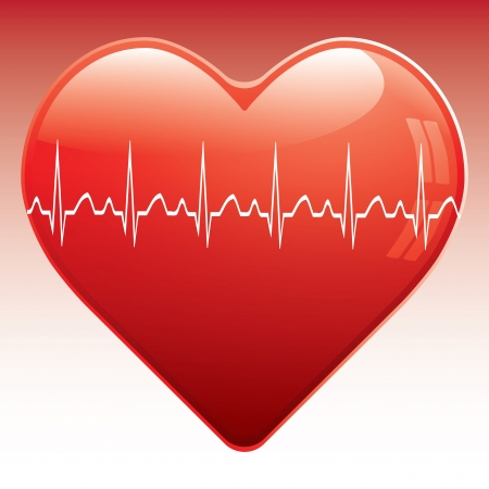 Heart with ekg  vector eps10