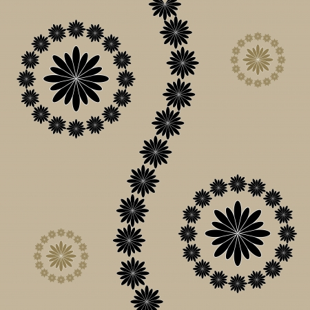 Abstract flowers on brown background. Stock Vector - 17042234