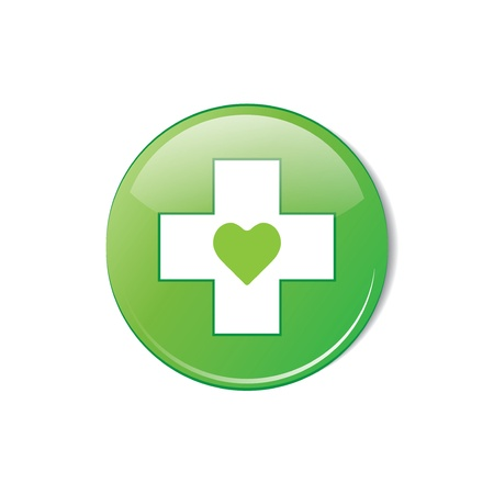 crumpled paper ball: Vector glossy green round heart button vector