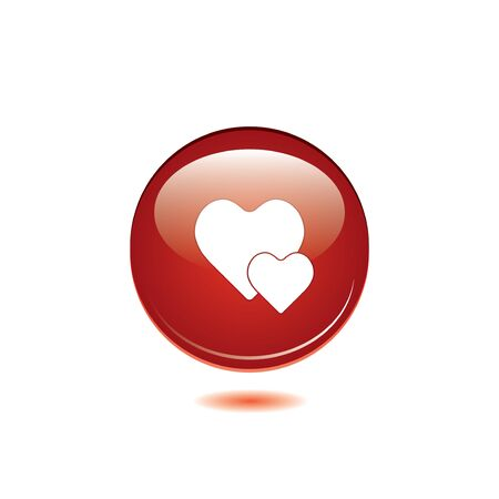Vector glossy red round heart button vector