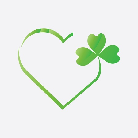 Heart icon with clover leaf icon  vector Vector