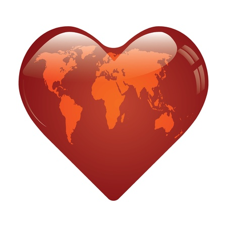 Heart whit world map on vector Çizim