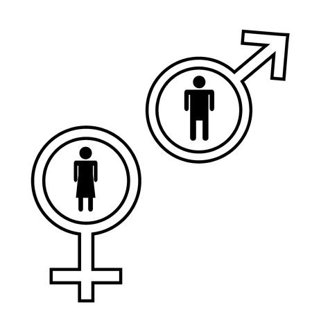 Mannelijke en vrouwelijke tekenen geïsoleerd op witte achtergrond Stock Illustratie