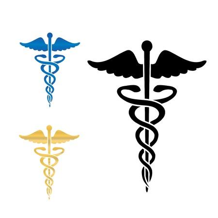 Caduceus médico símbolo ilustración vectorial eps10
