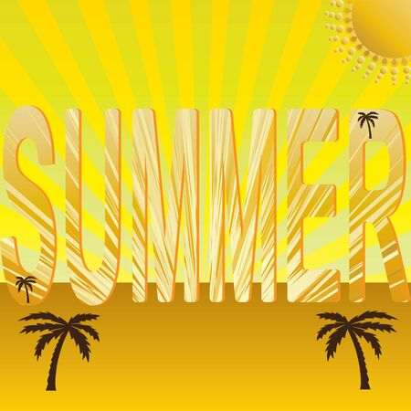 Summer holiday whit palm trees vector Stock Vector - 17855488