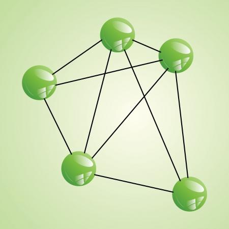 Atom part  on green backgorund. Stock Vector - 18218498