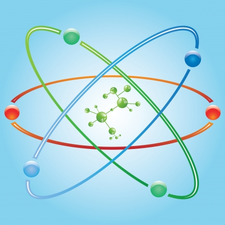 Atom part on blue background. Stock Vector - 18218487