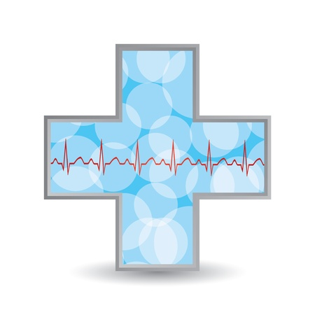 healt: Blue diagnostics button.Medical cross  Illustration