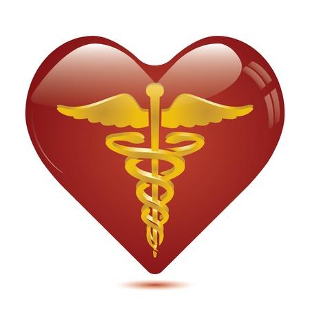 caduceo: Caduceo m�dico en s�mbolo del coraz�n. Vectores