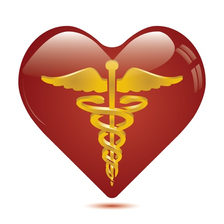 caduceus: Caduceus in heart medical symbol .