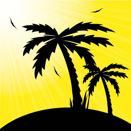 illustration of a tropical sunset and palm trees. Stock Vector - 18218688