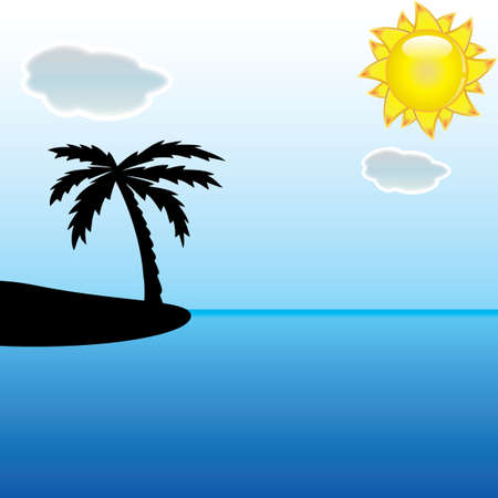 illustration of a tropical sunset and palm tree. Stock Vector - 18218557