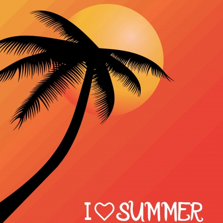 Summer holiday whit palm trees.vector Stock Vector - 18577485