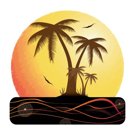 Summer holiday whit palm trees. Stock Vector - 18577469