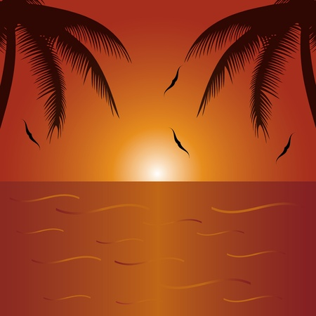 footprints in sand: Summer holiday whit palm trees.vector Illustration