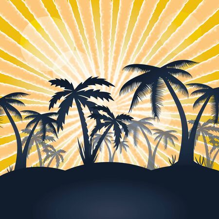 Summer holiday whit palm trees vector 일러스트
