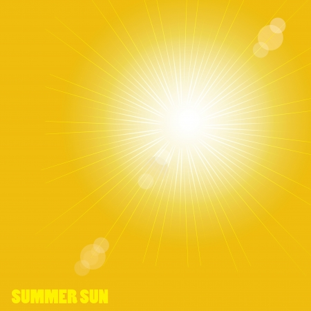Orange sunburst summer VECTOR Çizim