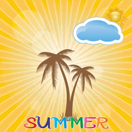 Summer holiday whit palm trees.vector Stock Vector - 19859274