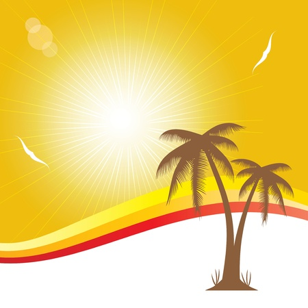 Summer holiday whit palm trees.vector Stock Vector - 19859197