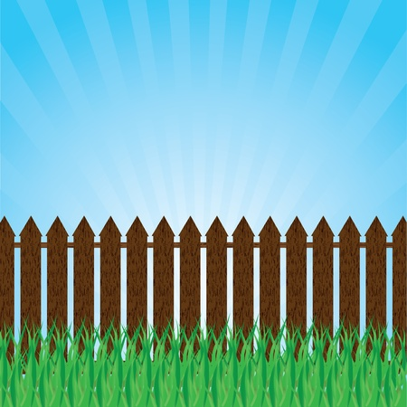 A green lawn with shrubs and trees and fence Stock Vector - 20458767
