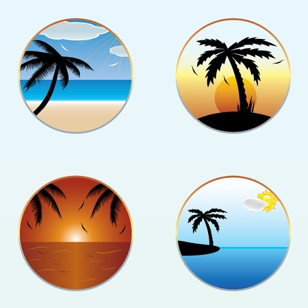 Round shape summer banners Stock Vector - 20458729