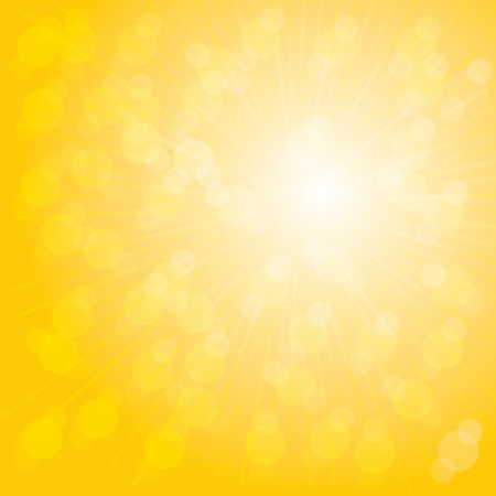 yellow background: Orange sunburst summer. Illustration