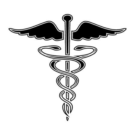 Caduceus medical symbol illustration.