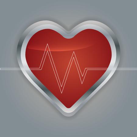 tachycardia: Heart with ecg and  with ekg line.vector
