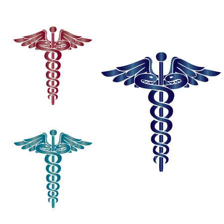Caduceus medical symbol vector illustration.eps10 Çizim