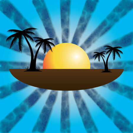Vector illustration of a tropical sunset and palm trees.vector Stock Vector - 23983783