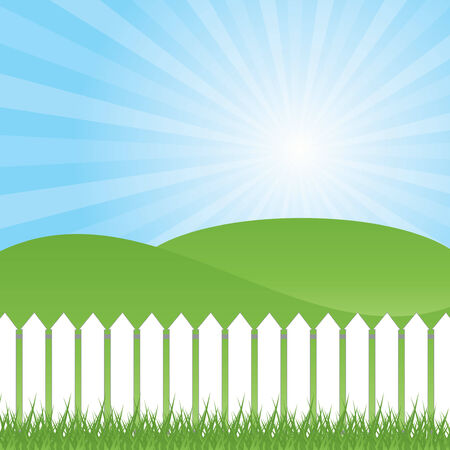 White fence and green grass on blue sky background, vector illustration Vector