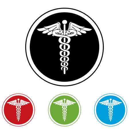ems: Medical black, red, green and blue icons  Illustration