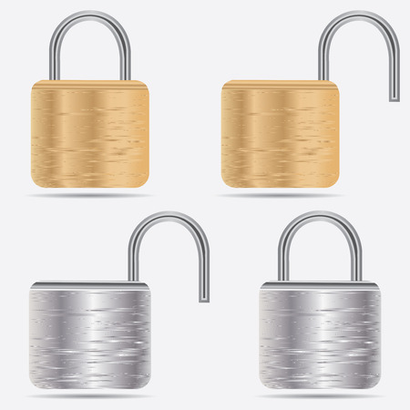 Realistic Padlocks  Illustration. Closed lock security icon isolated on white .vector