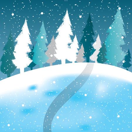 winter scene: Vector of winter scene, white snow and blue sky. vector Illustration